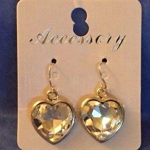 Silver-tone & Rhinestone Heart-shaped Earrings